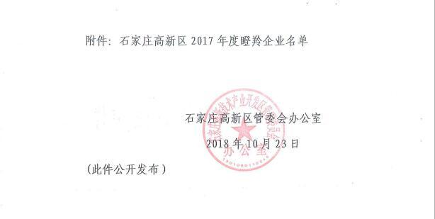 中科恒运被认定为2017年度瞪羚企业