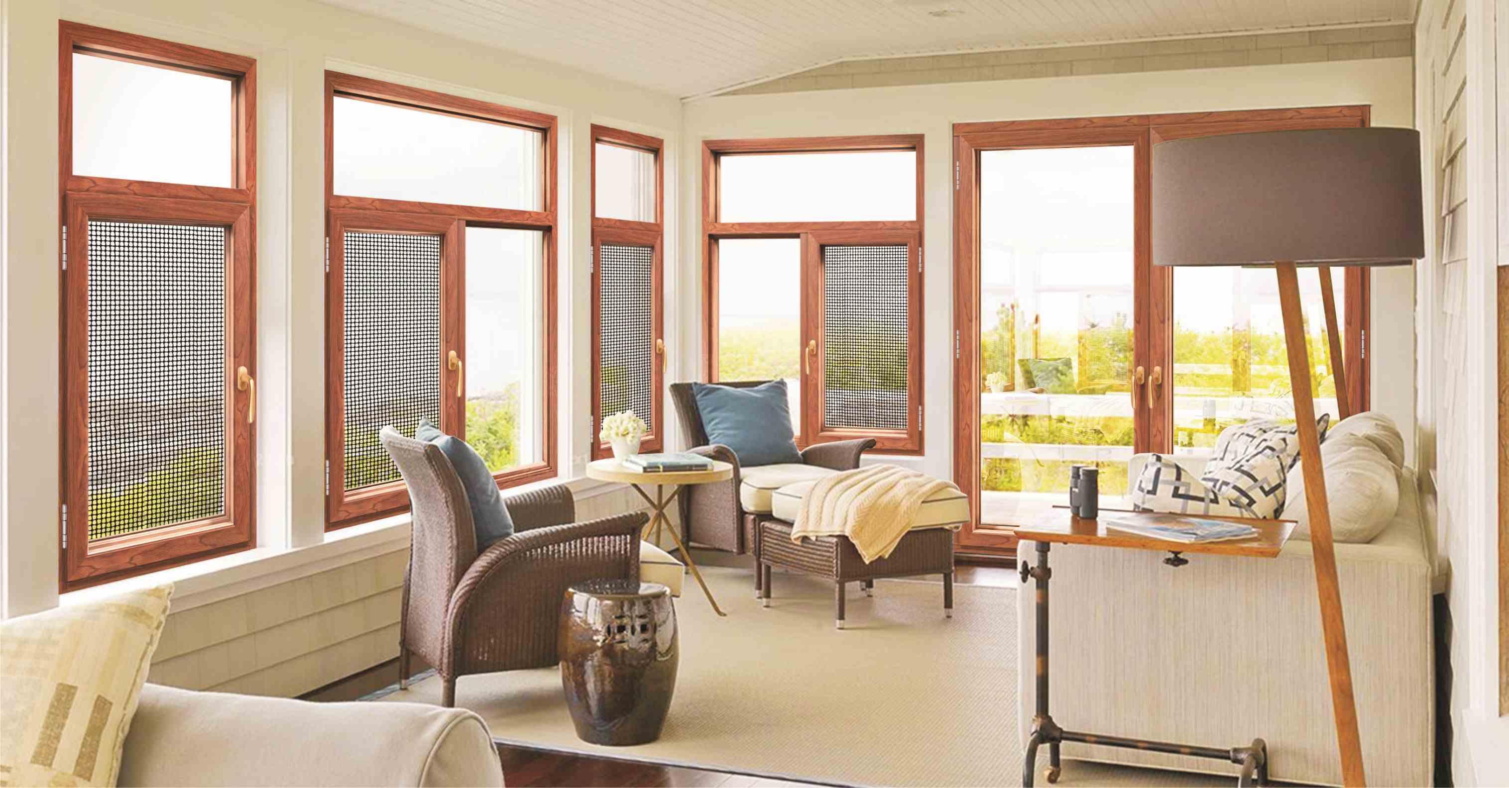 木纹铝合金门窗